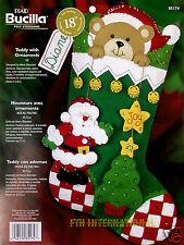 """Bucilla Teddy With Ornaments ~ 18"""" Felt Christmas Stocking Kit #85174 Bear Santa"""