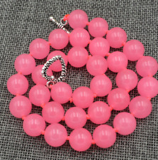 "10mm Pink Chalcedony Round Bead Gemstones Necklace 18""Tibetan silver love clasps"