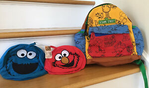 Sesame Street  Book Bag Backpack With Cookie Monster And Elmo Snack Bags NWT