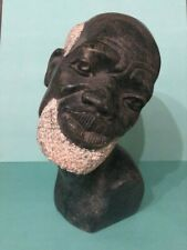 """Stone Marble Bust Of elder African Black Man with White Hair And Beard. 9"""" tall"""