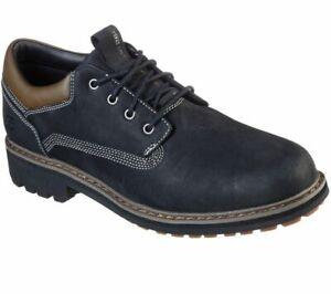 Skechers ALLEY WAY KRANSTON Mens Black 204204 Leather Comfort Shoes