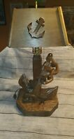 Vintage ALL WOOD HAND CARVED ANCHOR LAMP  ,WOOD SHADE WORKS, NAUTICAL, SEA RARE