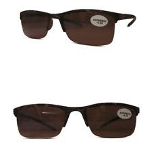 Semi Rimless Designer Lightweight Brown Lens Sun Readers 100% UV Protection
