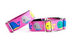 "Pink Whale Tale Fish 1 1/2 Inch Martingale Dog Collar 1.5"". Greyhound! 12-17"""