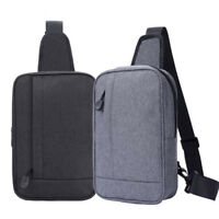 Mens Simple Shoulder Bag Sling Chest Pack Canvas Travel Sports Crossbody Handbag