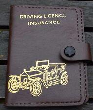 Driving Licence Insurance Wallet Vintage Brown Faux Leather Vintage Car