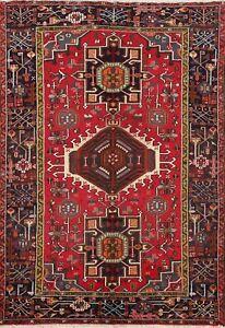 Excellent Vintage Geometric Tribal Area Rug Vegetable Dye Handmade Oriental 5x7