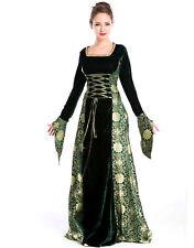 Womens Renaissance Gown Costume Medieval Small Dress Green Gold Brocade