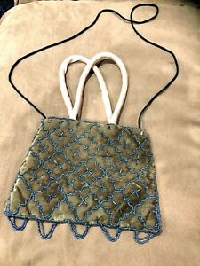 Lady Girl Fancy Party Glamour Beaded Bag Suede Clutch Floral Zip Top Brown Blue