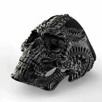 Cráneo de Acero Inoxidable Calavera Anillo para Hombres Negro Negro Plata Plata