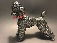 Large 11 1/2� Vintage Black Poodle Pottery Sculpture Hollywood Regency c1960s