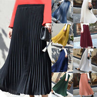 Women Pleated Midi Waist Maxi Swing Skirt Ladies Casual Elastic Long Skirt