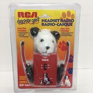 VTG 1990s RCA AM/FM Stereo Headset RADIO w/ Chipper Nipper Dog Puppy Plush Toy