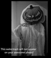 Vintage Creepy Halloween PHOTO Pumpkin Head Costume Freak Scary Kid Mask Ghost