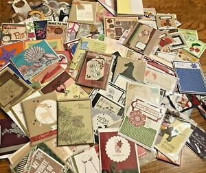 Huge Lot Handmade Greeting Cards,100+ items, 73 full size cards with envelopes,
