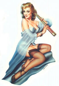 SEXY 3 inch MINI Sheer Nightie PINUP GIRL 50's NostalgiA Cellphone STICKER/DECAL