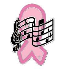 Breast Cancer Lapel Pin Pink Ribbon Music Notes Musician Band Awareness New