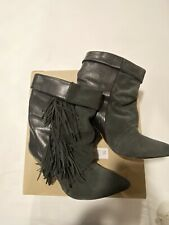 Isabel Marant For H&M Fringe Leather Suede Boots Size 9/9.5 40, Grey