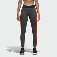 Adidas Essentials 3 Stripes Leggings All Sizes Grey Heather Red Coral CF8865