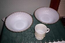 Fire King glassware 3 pieces 2 swirl lustre serving bowls, 1 coffee cup