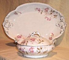 Antique Limoges Elite France B/D 3pc Serving Set Large Platter /Bowl Pink Floral