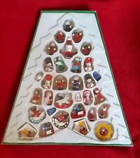 Vintage Mini Wood Christmas Ornaments Figurines Feather Tree MIDWEST Miniature