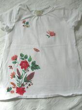 ZARA T-Shirt Gr. 122/128/134 weiß Blüten Marienkäfer Stoff Glitzer Applikationen