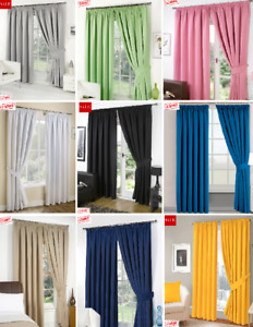 13 Colours**Pencil Pleat PAIR of LINEN Curtains & Tiebacks Ready Made*HAND MADE*