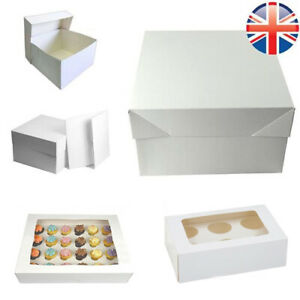 """PREMIUM WHITE CAKE & CUPCAKE BOXES for 4, 6, 12 Cup Cakes 8"""", 10"""", 12"""" Box"""