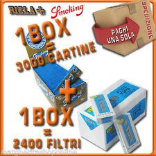 3000 CARTINE Smoking BLU CORTE=1box+2400 FILTRI 5,5MM RIZLA ULTRASLIM 1box