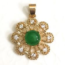 Yellow Gold Plated Green Jade Round Diamond Flower Pendant Jadeite Jewelry J51