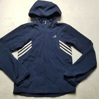 Adidas Climaproof Womens Jacket Hooded Full Zip Blue Navy Size Small Vintage