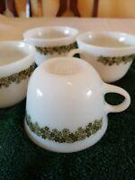 4 Vintage Pyrex Corelle Spring Blossom Crazy Daisy Coffee Tea Cups Mugs
