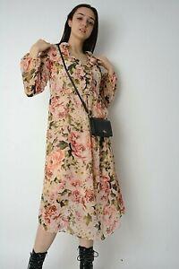 New Blush Pink Rose Print Chiffon Frill Trim Midi Dress+Vest Underlay Size 8-16
