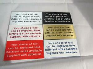 Engraved self adhesive sign/plaque, choice of personalised text, various sizes