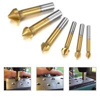 Titanium chamfer cutters x6 HSS countersink mill drill bit set Wood/Metal/Steel