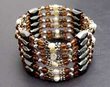 Sale 4-5mm Natural White Pearl with Purple Crystal & Hematite 36'' Bracelet-362