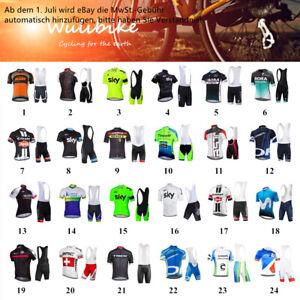 Herren Radtrikot Sport Team Bike Sets Fahrrad Kleidung Bib gepolstert Shorts Set