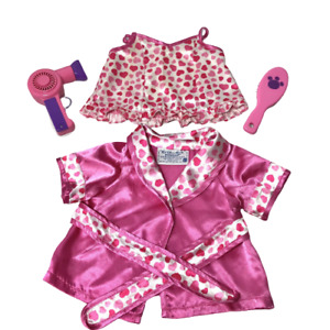 Build A Bear Outfit Pink Satin Heart Pajama Gown & Housecoat Blow Dryer Brush