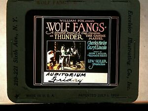 """WOLF FANGS"", 1927 , ORIGINAL COLOR GLASS MOVIE SLIDE"