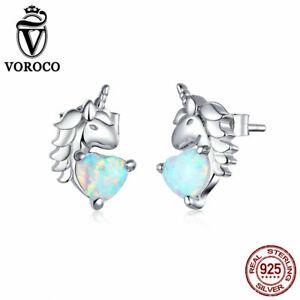 Authentic S925 Sterling Silver Zircon Stud Ear Earrings For Women Girls VOROCO