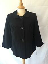 Courtenay Women's Black Swing Coat Cropped Jacket Button Front Size 8 NWT