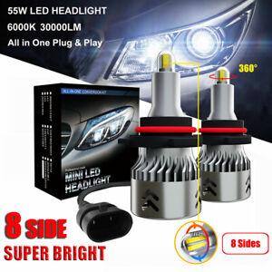 8 Sides 110W 30000LM 9005 HB3 Car Canbus LED Headlights Lamps Kit White 6000K