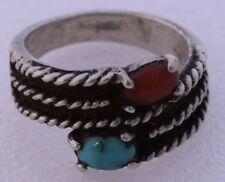 Sterling Silver Turqoise Coral Braided Band Ring Rustic Handmade Vintage Artisan