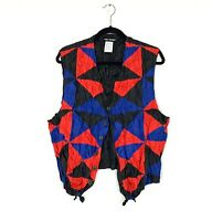 Vintage Issey Miyake Men's Crinkled Red Blue Polyester Vest Size M - New