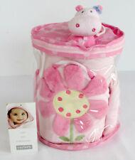 Carter's 5 PIECE BABY BATH SET Hooded Towel Bath Toy Wash Mitt 2 Washcloth PINK
