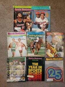 Lot of 8 Sports Illustrated Magazine. 1970's.