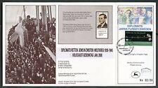 ISRAEL RAOUL WALLENBERG SHOW CARD OVERPRINT & NUMBERED GERMAN & UN   FD CANCEL