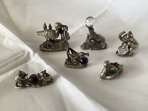 WAPW Tudor Pewter Animals With Crystal Balls, Available Singly, Immaculate