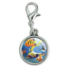 Tropical Coral Reef Fish Clown Antiqued Bracelet Charm with Lobster Clasp